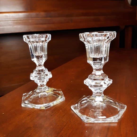 VTG crystal glass candle holders
